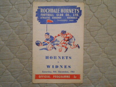 Rochdale Hornets V Widnes Rugby League Match Programme December 1961