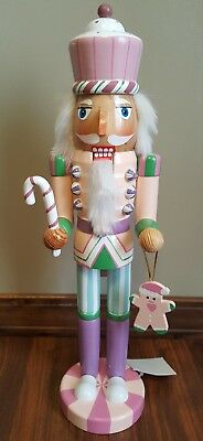"""Pink Cupcake Nutcracker Candy Cane Cookies Sweet Treats Wooden 15"""" Christmas NEW"""