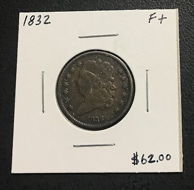 1832 U.s. Classic Head Half Cent ~ Fine + Condition! $2.95 Max Shipping! C28