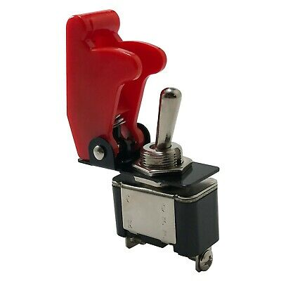 Heavy Duty On-Off Metal Toggle Switch 25A 12V & RED Switch Flip Up Cover UK Made