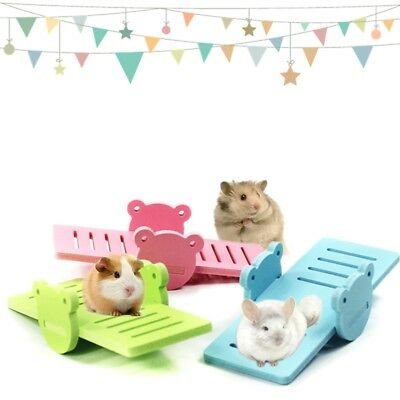 Wood Seesaw Hamster Mouse Rat Play Exercise Toy Cage Swing Bridge Toys