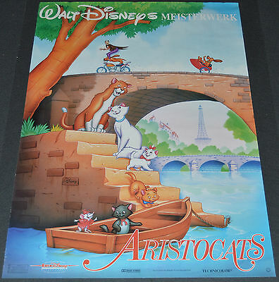 THE ARISTOCATS 1980's ORIG. 23x33 GERMAN MOVIE POSTER! DISNEY ANIMATION CLASSIC!