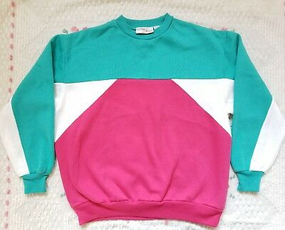 TOTALLY RAD VINTAGE 80's Color Block Sweatshirt Size S M Halloween Hipster Pink