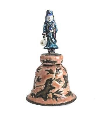Chinese silvered copper hand painted enamel bell with figural handle. C1900