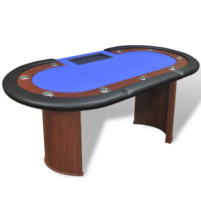 Poker Table Casino Dealer Area and Chip Tray Blue 10-Player Games Room Party