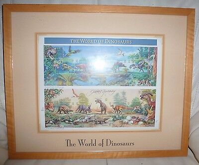 James Gurney SIGNED AUTOGRAPHED The World of Dinosaurs Full Sheet 32 cent Stamps