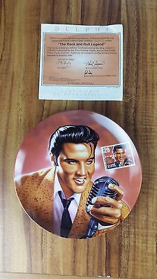 """Delphi Collector Plate Elvis """"The Rock & Roll Legend"""" 1993 With COA"""
