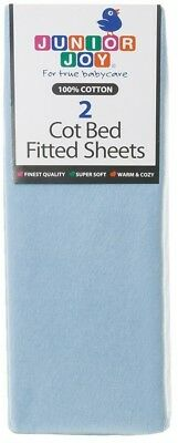 Junior Joy Cot Bed Cotton Fitted Sheet (Pack of 2, Blue)