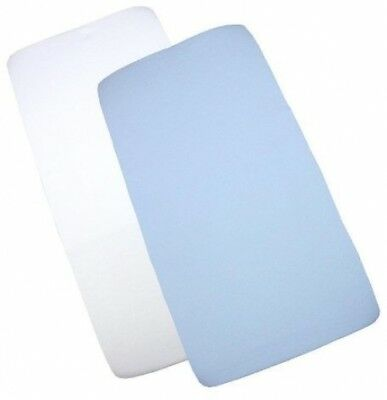 BabyPrem Pack Of 2 Fitted Crib / Pram Sheets 100% Cotton - 1 White and 1 Blue