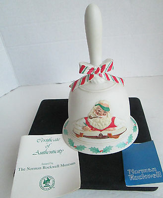 Porcelain Relief Collector's Bell Norman Rockwell SANTA CHECKING HIS LIST 1982