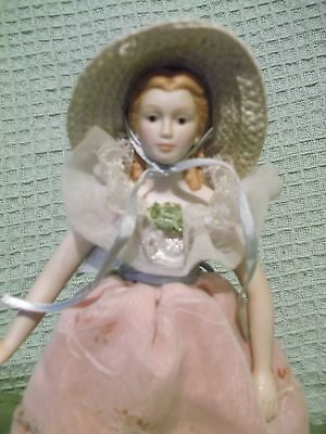 """AVON Porcelain Fashion of America 1988 9"""" Southern Bell Doll with stand"""