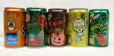 Set of 5 HALLOWEEN 2017 CANS 7.5 oz A&W 7 UP Sunkist Canada Dry Tricks & Treats
