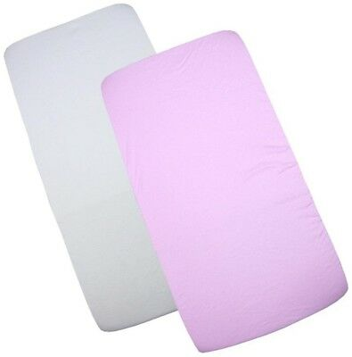 BabyPrem Pack Of 2 Fitted Crib / Pram Sheets 100% Cotton - 1White and 1 Pink