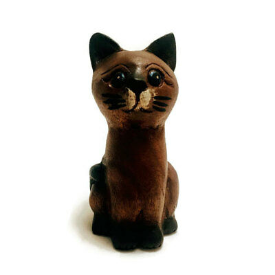 "Hand Carved Small Wooden Sitting Cat 5"" tall, Home and Office Decor"