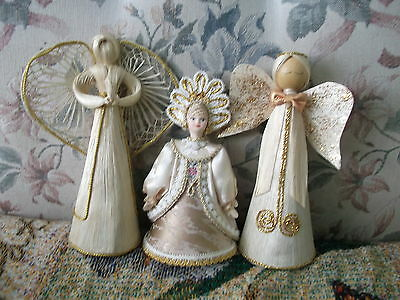 3 hand craft Angels Russian doll is silk cotton & ceramic  2 cornsilk are 8.5 in
