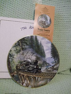 """Timber Country B.C. 9.5"""" Christian Bell Plate The Age of Steam  by T.A. Xaras"""