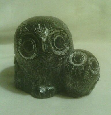 "Mother Owl and Owlet 2.5"" Sculpture Hand Made In Canada by Wolf Original, Resin"