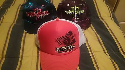 DC SHOE CO. Rockstar Energy Drink & 2x MONSTER ENERGY DRINK REFLECTIVE HATS CAPS