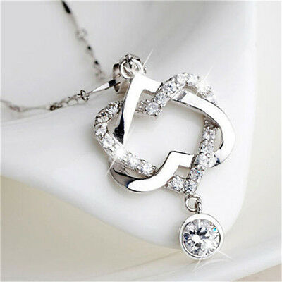 Fashion 925 Silver Plated Women Double Heart Pendant Necklace Chain Jewelry NS