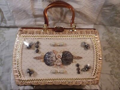 Vintage Woven Plastic Straw Purse w. Shell Decoration, Lucite Handles