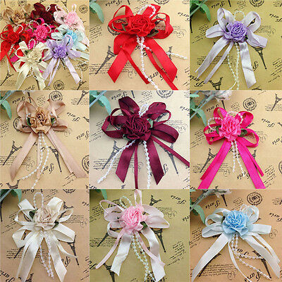 5/20/40pcs Big Satin Ribbon Flower Bows with Bead wedding Decoration Craft