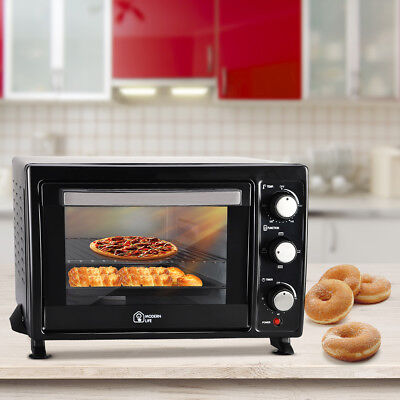 12L Electric Mini Oven Tray Table Top Cooker Baking Kitchen Convection Black New