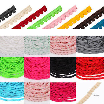 2/10/20 yards 10mm Width Pom Pom Trim Ball Fringe Ribbon DIY Sewing Accessory