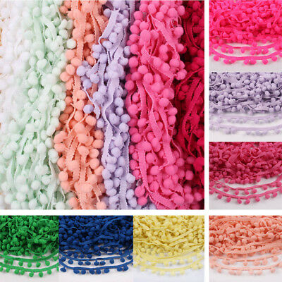 1,5,20 Yards 10mm Pom Pom Bobble Trims Gimp Braid Fringe Ribbon Edging Craft Hat