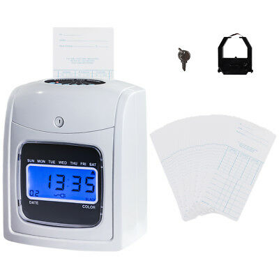 Electronic Recorder Time Punch Clock LCD Display w/Card Monthly/Weekly/Bi-weekly