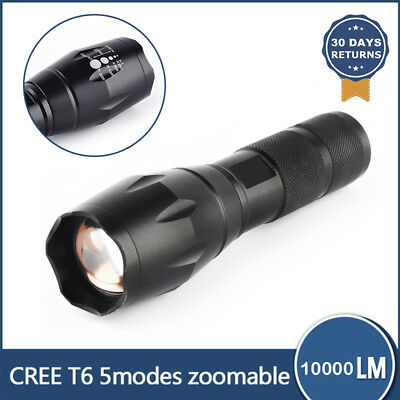 10000LM CREE XM-L T6 LED Flashlight Torch Zoomable Lamp Light 18650/AAA Battery