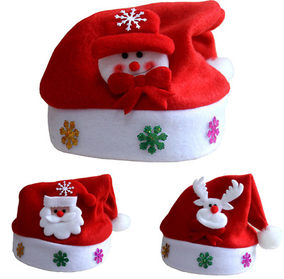 Child Christmas Hat XMAS Santa Family Hats Gift For Girl Boy Children Kid baby