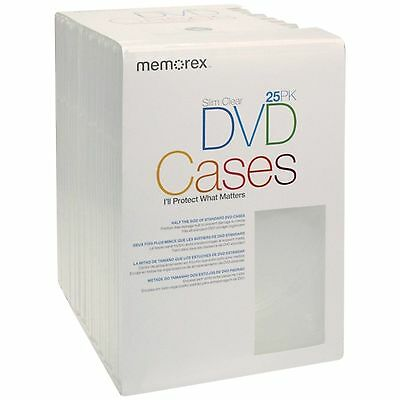 Memorex Slim DVD Video Storage Cases Clear 25-pack - FREE SHIPPING