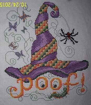 Completed Halloween Cross Sitch, Witch to Ghost, Beaded Accents