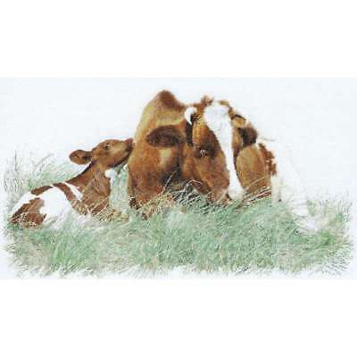 """Brown Cow On Linen Counted Cross Stitch Kit 17.75""""X27.5"""" 32 Count 499992787158"""
