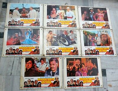 Vintage Bollywood 8 Lobby cards of Maan Gaye Ustaad used condition #Lb-6