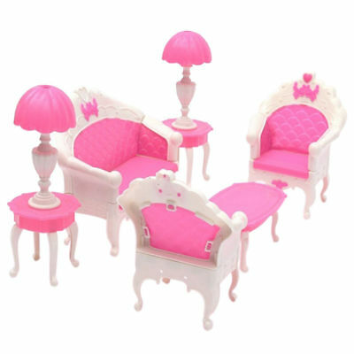6pcs Gloria ,Barbie Doll House Furniture Living Room Sofa Chair Armchair Pink