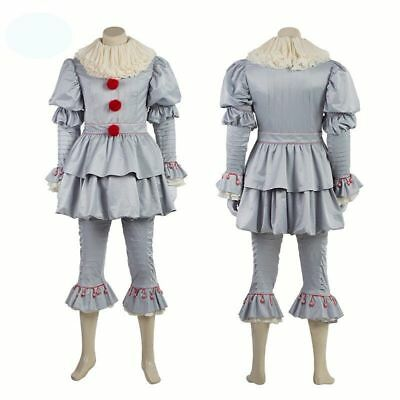 Stephen King It 2017 Pennywise Cosplay Costume The Clown Halloween Outfit Suit