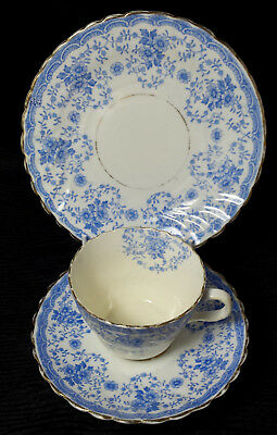 Antique blue floral vintage china cabinet trio - cup, saucer & plate