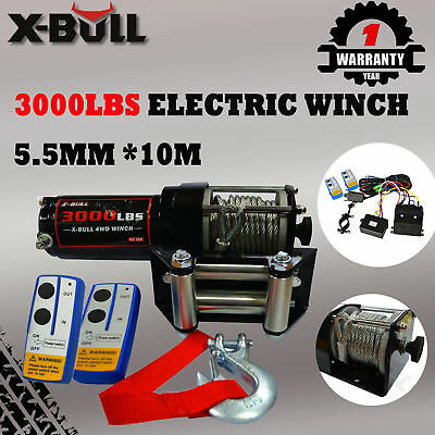 X-BULL 12V 3000LBS/1360KG Electric Winch Steel Cable 2 Remote Wireless Boat ATV