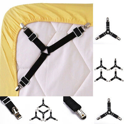 4pcs Bed Suspender Straps Mattress Fastener Holder Triangle Grippers Sheet Clips