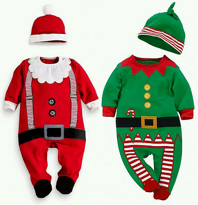 AU Stock Newborn Baby Boy Girl Xmas Clothes Romper Bodysuit Hat Outfits Costume