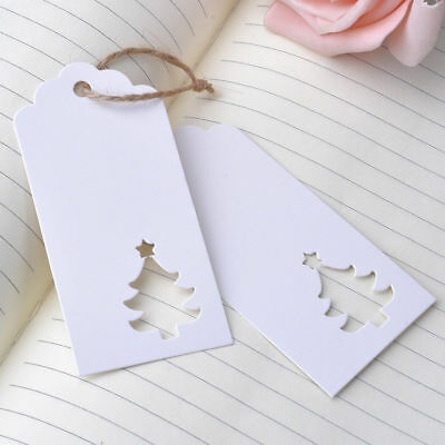 100 Pcs Hollow Christmas Tree Shape Kraft Hang Tags Party Favor  Label Gift Card