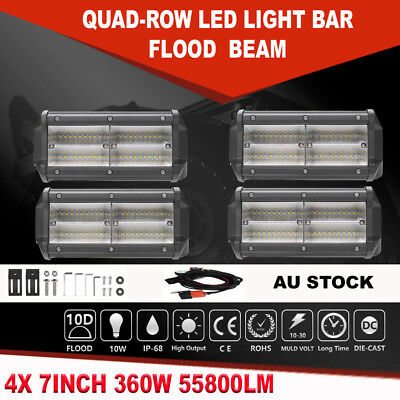 """4x 360W Cree LED Light Bar 7inch Flood Beam Offroad Work SUV 4WD Driving Lamp 6"""""""