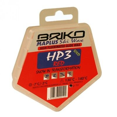 Briko-Maplus HP3 Red High Fluorinated Ski and Snowboard Solid Wax (50 Grammes)