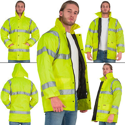 Mens Coat Hi Viz Visibility Storm Padded Parka Hooded Work Security Jacket S 4XL
