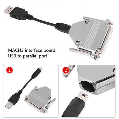 1 PC 10cm USB Cable + 25 Pin USB to Parallel Adapter CNC Controller for Mach3