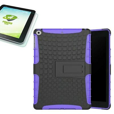 Hybrid Outdoor Cover Purple for Apple Ipad 9.7 2017 Cover+H9 Tempered Glass Case