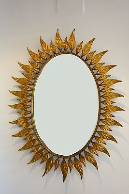 XL gran espejo vintage sol metal dorado hojas 60s sunburst mirror metal leaves