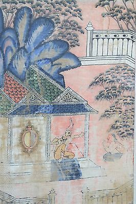 ANTIQUE 18th CENTURY THAI GOUACHE PAINTING ON SILK FIGURAL GODS THAILAND
