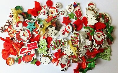 100 Luxury Christmas Mix Buttons-Ribbons-Bows-embellishments-cardmaking-crafts